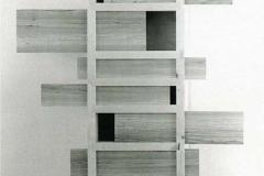 Schrank, Ahorn gehobelt, mit Schiebebrettern, Ulme sägerauh, Maße ca. 125 × 100 × 22 cm³, 1996