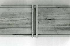 Schrank, Ahorn gehobelt, Füllung, Ulme sägerauh, Maße ca. 60 × 160 × 25 cm³, 1998