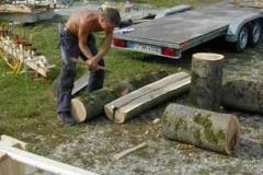 Spalten des Holzes