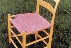 Stuhl aus Esche, bespannt mit Gurtband